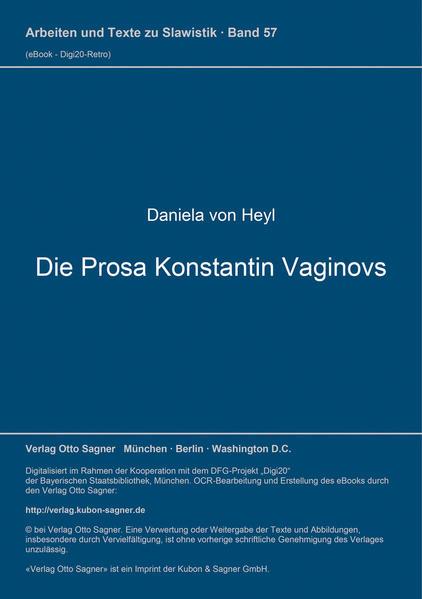 Die Prosa Konstantin Vaginovs - Coverbild