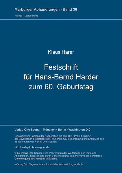 Festschrift für Hans Bernd Harder zum 60. Geburtstag - Coverbild