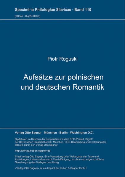 Aufsätze zur polnischen und deutschen Romantik - Coverbild