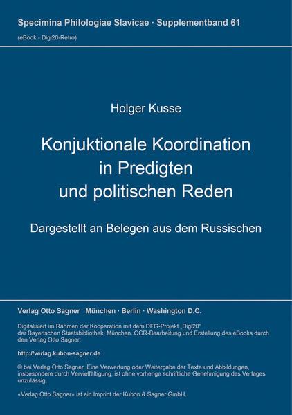 Konjunktionale Koordination in Predigten und politischen Reden - Coverbild