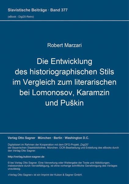 Die Entwicklung des historiographischen Stils im Vergleich zum literarischen bei Lomonosow, Karamzin und Puškin - Coverbild