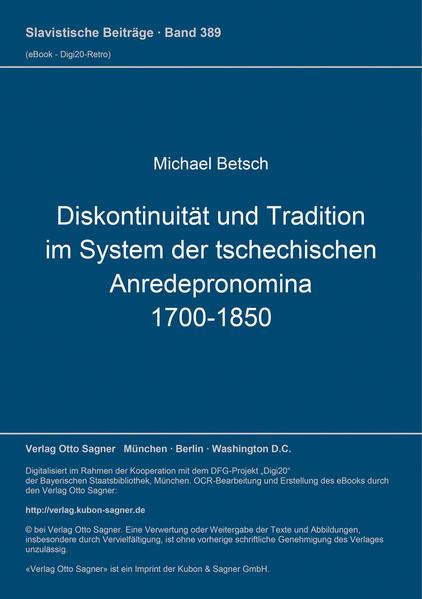 Diskontinuität und Tradition im System der tschechischen Anredepronomina (1700-1850) - Coverbild