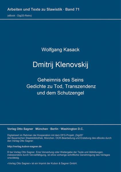 Dimitrij Klenovskij. Geheimnis des Seins - Coverbild