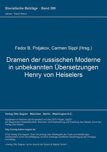 Dramen der russischen Moderne in unbekannten Übersetzungen Henry von Heiselers - Coverbild
