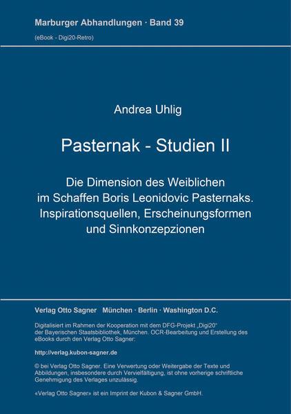 Die Dimension des Weiblichen im Schaffen Boris L. Pasternaks - Coverbild