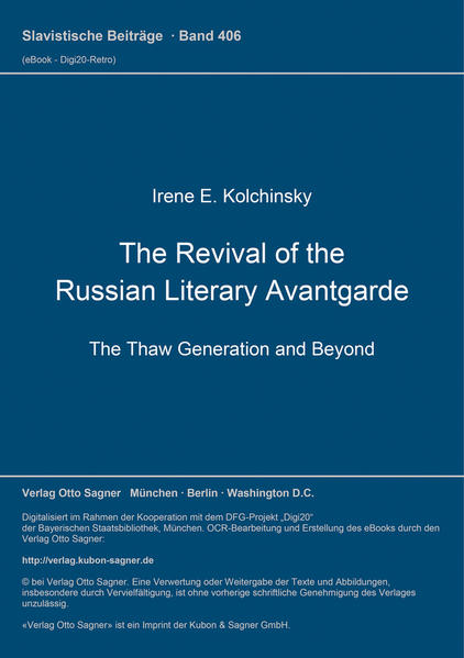 The Revival of the Russian Literary Avant-Garde - Coverbild