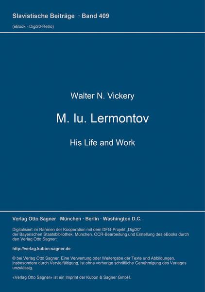 M. Iu. Lermontov: His Life and Work - Coverbild