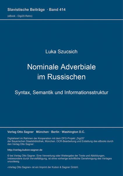 Nominale Adverbiale im Russischen - Coverbild