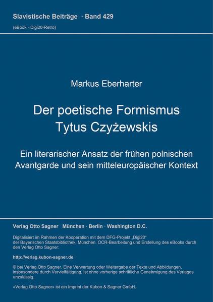 Der poetische Formismus Tytus Czyzewskis - Coverbild