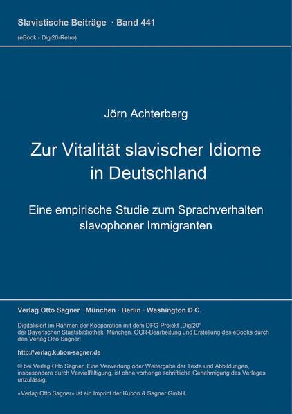 Zur Vitalität slavischer Idiome in Deutschland - Coverbild