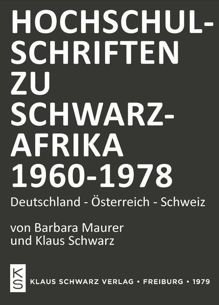 Hochschulschriften zu Schwarzafrika (1960-1978) - Coverbild