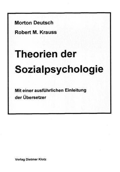 Theorien der Sozialpsychologie / Theorien der Sozialpsychologie - Coverbild