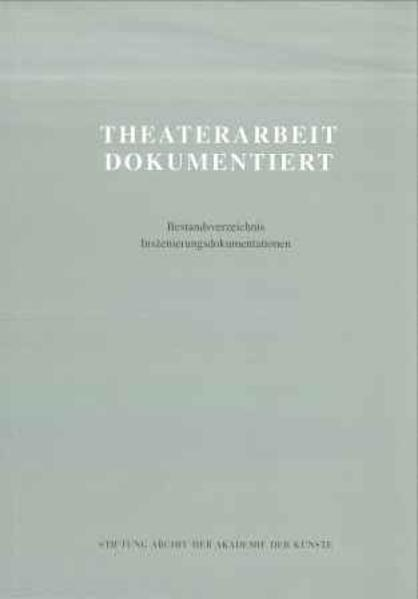 Theaterarbeit dokumentiert - Coverbild