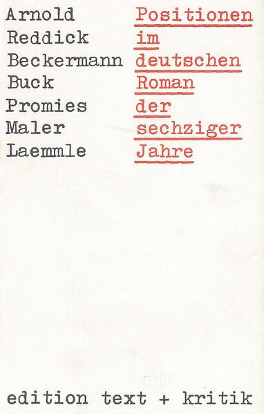Positionen im deutschen Roman der sechziger Jahre - Coverbild