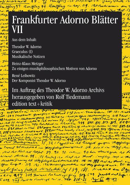Frankfurter Adorno Blätter VII - Coverbild