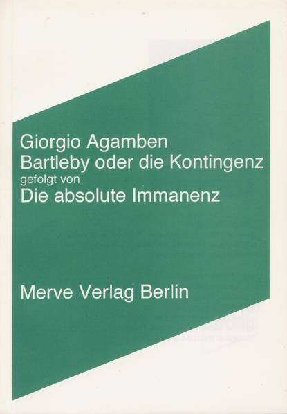 Bartleby oder die Kontingenz - Coverbild