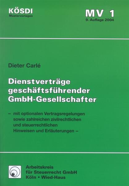 Vertragsmuster Dienstverträge geschäftsführender GmbH-Gesellschafter - Coverbild