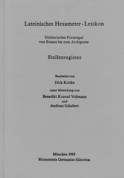 Hilfsmittel / Lateinisches Hexameter-Lexikon / Ergänzungsband: - Coverbild