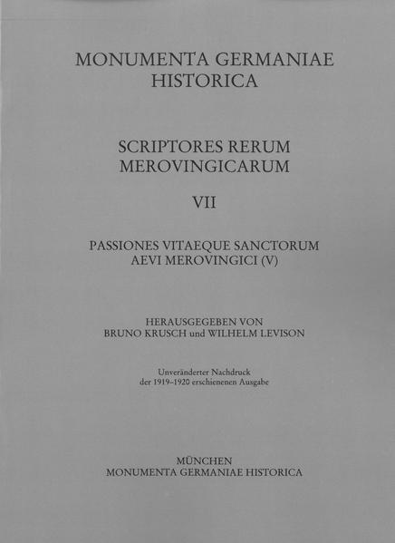 Passiones vitaeque sanctorum aevi Merovingici (V) - Coverbild