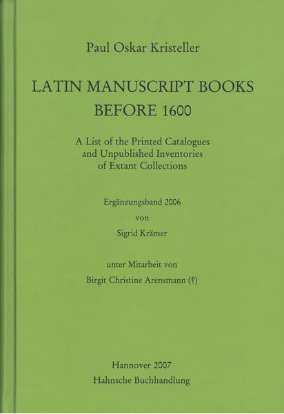 Latin Manuscript Books before 1600 - Coverbild