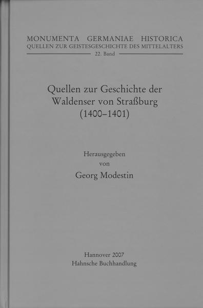 Quellen zur Geschichte der Waldenser von Straßburg (1400-1401) - Coverbild