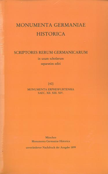 Monumenta Erphesfurtensia saec. XII. XIII. XIV. - Coverbild