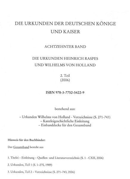 Die Urkunden Wilhelms von Holland: 1252-1256 - Coverbild