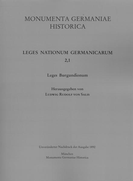 Leges Burgundionum - Coverbild