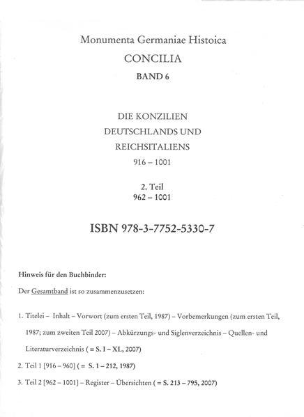 Die Konzilien Deutschlands und Reichsitaliens 916-1001, Teil 2: [962-1001]. Register - Coverbild