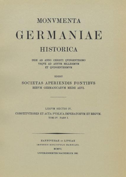 Constitutiones et acta publica imperatorum et regum (1298-1313), Teil 1 - Coverbild