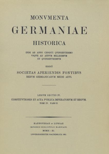 Constitutiones et acta publica imperatorum et regum (1298-1313), Teil 2 - Coverbild