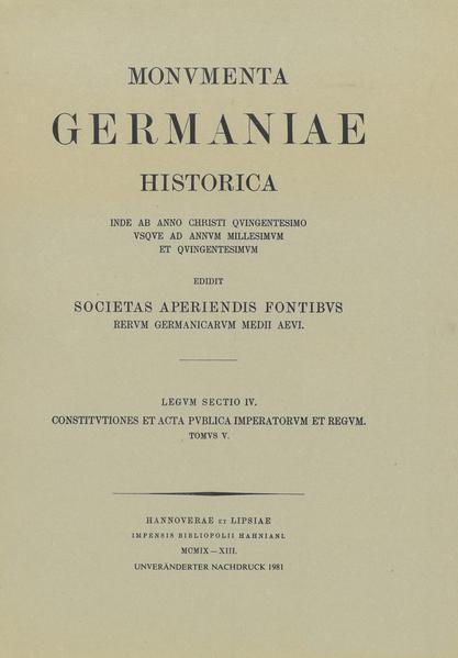 Constitutiones et acta publica imperatorum et regum (1313-1324) - Coverbild