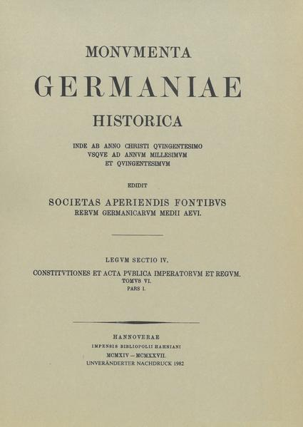 Constitutiones et acta publica imperatorum et regum (1325-1330) - Coverbild