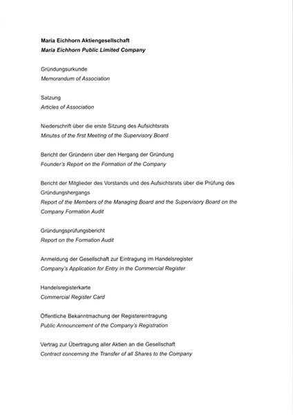 Maria Eichhorn Aktiengesellschaft /Maria Eichhorn Public Limited Company - Coverbild