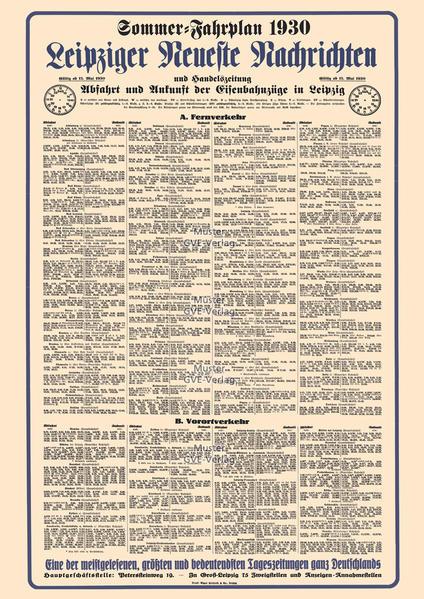 Aushangfahrplan Eisenbahnverkehr Leipzig 1930 - Restaurierter Nachdruck als Poster auf Kunstdruckpapier im Format 59 x 84 cm, gefaltet auf DIN A4. - Coverbild