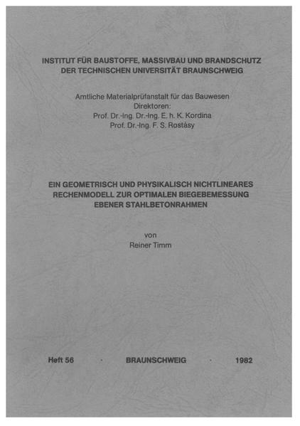 Ein geometrisch und physikalisch nichtlineares Rechenmodell zur optimalen Biegebemessung ebener Stahlbetonrahmen - Coverbild
