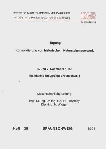 Tagung Konsolidierung von historischem Natursteinmauerwerk - Coverbild