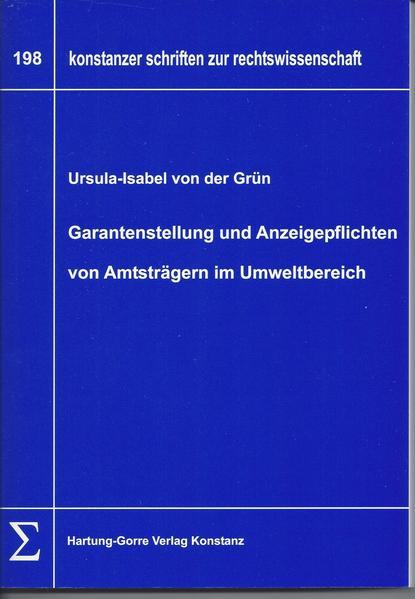 Garantenstellung und Anzeigepflichten von Amtsträgern im Umweltbereich - Coverbild