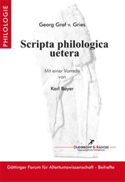 Scripta philologica uetera - Coverbild