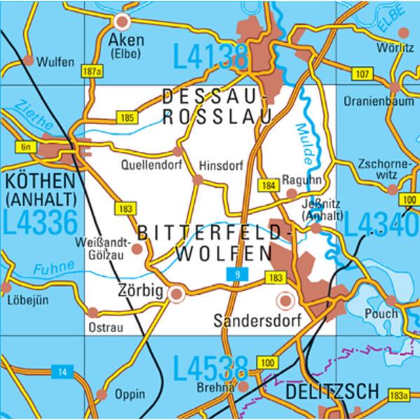 L4338 Bitterfeld-Wolfen Topographische Karte 1:50000 - Coverbild
