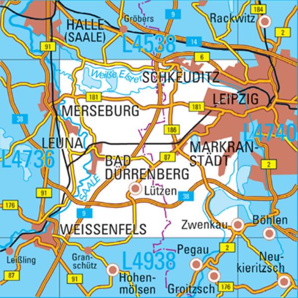 L4738  Leipzig West Topographische Karte 1:50000 - Coverbild