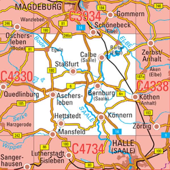 C4334 Bernburg (Saale) Topographische Karte 1 : 100 000 - Coverbild