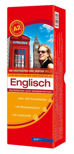 Karteikarten Die wichtigsten 1000 Wörter Englisch, Fortsetzung (A2) - Coverbild