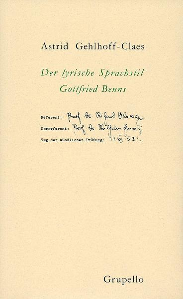 Der lyrische Sprachstil Gottfried Benns - Coverbild