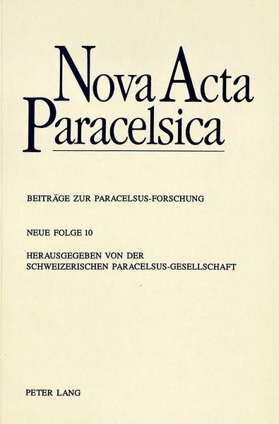 Nova Acta Paracelsica - Coverbild