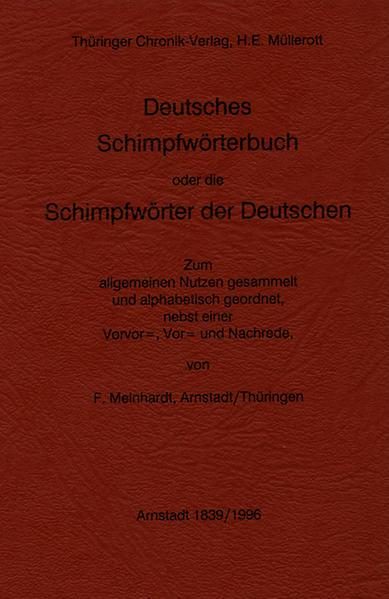 Deutsches Schimpfwörterbuch oder die Schimpfwörter der Deutschen 1839 - Coverbild