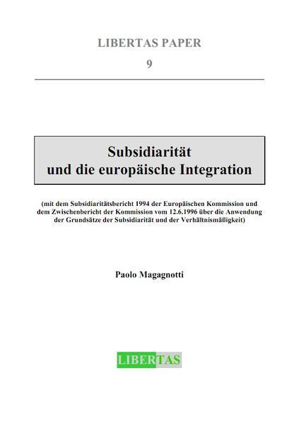 Subsidiarität und die europäische Integration - Coverbild