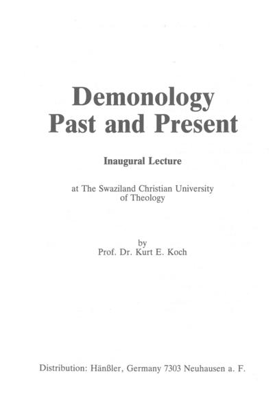 Demonology Past and Present - Coverbild