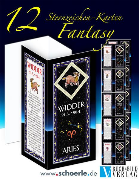 12 Sternzeichen-Karten Fantasy-Edition mit Sternzeichentexten - Coverbild