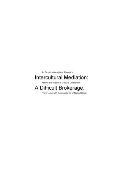 Intercultural Mediation: A Difficult Brokerage - Coverbild